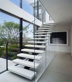 Modern single stringer indoor prefabricated stairs