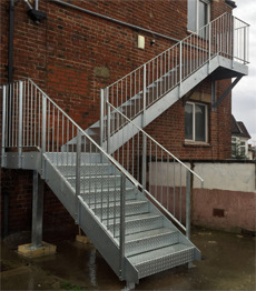 Exterior fire escape checker plate stairs