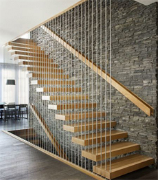 Embed carbon steel stringer solid wood floating stairs cost