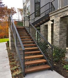 Outdoor galvanized steel structure external antiseptic wood treads stairs