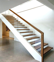Carbon steel structure timber solid wood treads loft precast concrete stairs