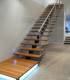 Resential interior prefabricated steel structure mono stringer stairs