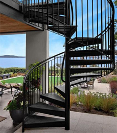 Cast iron carbon steel exterior spiral stairs