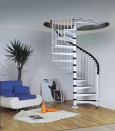 Carbon steel frame with solid wood spiral stairs staircase