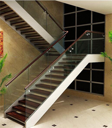 Double side stringer carbon steel solid wood tread staircase