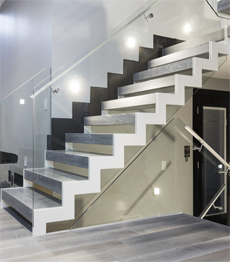 Steel wood zig zag straight stairs staircase