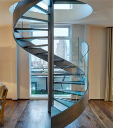 Stainless steel frame laminated glass treads spiral stairs
