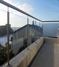 Stainless steel balcony tempered glass railing