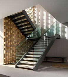 Indoor fabricated mild steel solid wood stair