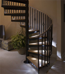 Interior cast wrought iron spiral staircase design