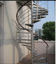 Outdoor galvanized steel metal spiral staircase
