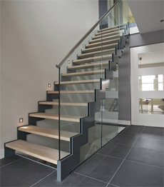 Steel wood zig zag to second floor staircase