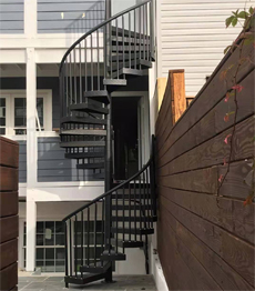 Wrought iron metal used exterior spiral stairs