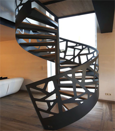Cast aluminum railing spiral staircase