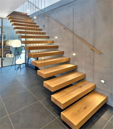 Modern Glass interior staircase with anti slip wooden tread